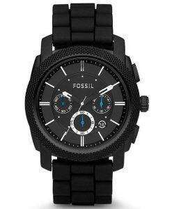 Fossil Machine Chronograph Black Silicone Strap FS4487 Mens Watch