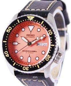 Seiko Automatic Divers Black Leather SKX011J1-LS2 200M Mens Watch