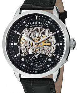 Stuhrling Original Executive Automatic Skeleton Black Leather 133.33151 Mens Watch
