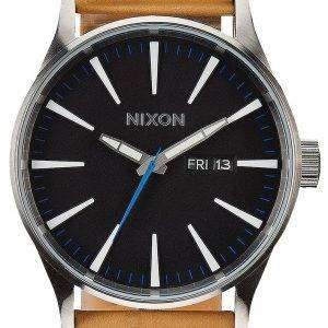Nixon Quartz Sentry Leather Black Dial A105-1602-00 Mens Watch