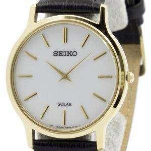 Seiko Solar White Dial Leather Strap SUP872P1 SUP872P Mens Watch