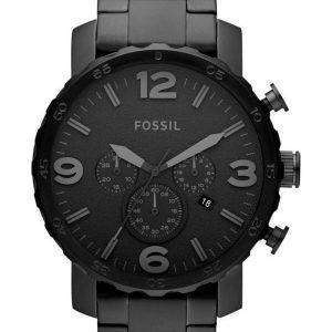 Fossil Nate Chronograph Black Dial Black Ion-plated JR1401 Mens Watch