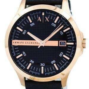아르마니 익스체인지 로즈 골드 블랙 다이얼과 가죽 스트랩 AX2129 남자의 시계