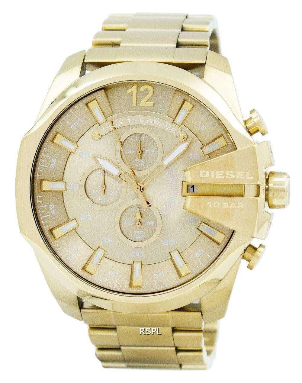 Diesel Quartz Mega Super Chronograph Gold Tone DZ4360 Men's Watch