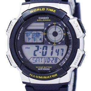 카시오 조명 세계 시간 알람 AE-1000W-2AV 남자의 시계