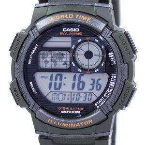 카시오 조명 세계 시간 알람 디지털 AE-1000W-3AV 남자의 시계