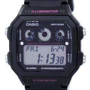 카시오 조명 기 크로 노 그래프 알람 디지털 AE-1300WH-1A2V 남자의 시계