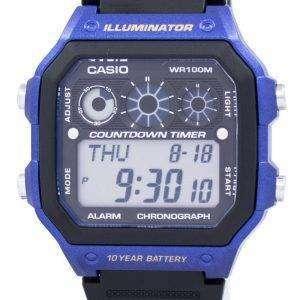 카시오 청소년 시리즈 조명 기 크로 노 그래프 알람 AE-1300WH-2AV 남자의 시계