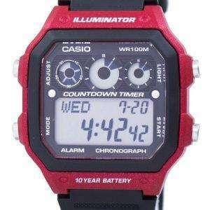 카시오 청소년 시리즈 조명 기 크로 노 그래프 알람 AE-1300WH-4AV 남자의 시계