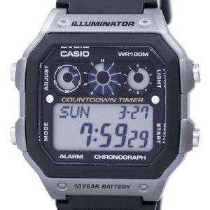 카시오 청소년 시리즈 조명 기 크로 노 그래프 알람 디지털 AE-1300WH-8AV 남자의 시계