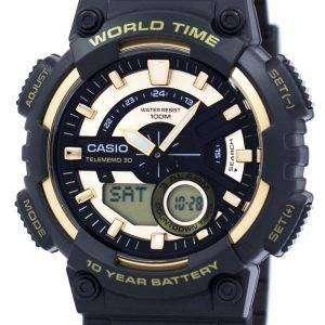 카시오 청소년 시리즈 Telememo 30 세계 시간 알람 AEQ-110BW-9AV 남자 시계