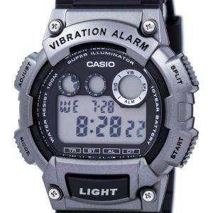 카시오 수퍼 조명 기 듀얼 타임 진동 알람 디지털 W-735 H-1A3V 남자의 시계