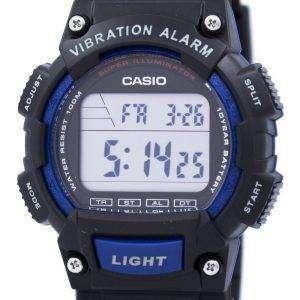 카시오 수퍼 조명 기 듀얼 타임 진동 알람 디지털 W-736 H-2AV 남자의 시계