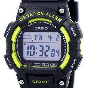 카시오 슈퍼 조명 기 진동 알람 듀얼 타임 디지털 W-736 H-3AV 남자의 시계