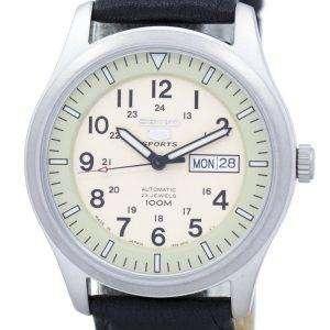 세이 코 5 스포츠 군 자동 일본 만든 비율 블랙 가죽 SNZG07J1 LS10 남자의 시계