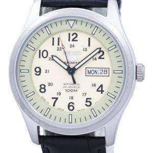세이 코 5 스포츠 군 자동 일본 만든 비율 블랙 가죽 SNZG07J1 LS6 남자의 시계