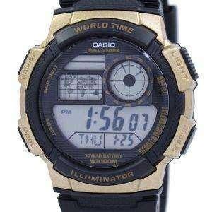 카시오 조명 세계 시간 알람 AE-1000W-1A3V AE1000W-1A3V 남자의 시계
