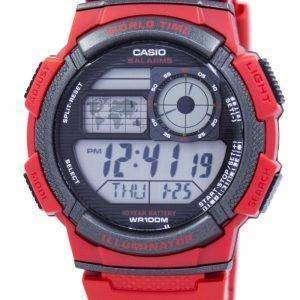 카시오 청소년 세계 시간 알람 세계 지도 AE-1000W-4AV AE1000W-4AV 남자의 시계