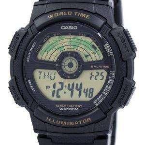 카시오 청소년 조명 세계 시간 세계 지도 AE-1100W-1BV AE1100W-1BV 남자 시계