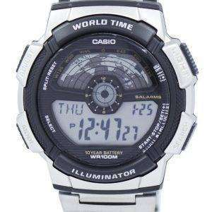 카시오 청소년 조명 세계 시간 디지털 AE-1100WD-1AV AE1100WD-1AV 남자 시계