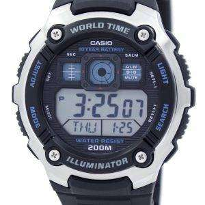 카시오 청소년 조명 세계 시간 알람 AE-2000W-1AV AE2000W-1AV 남자의 시계