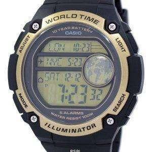 카시오 청소년 조명 세계 시간 알람 AE-3000W-9AV AE3000W 9AV 남자의 시계