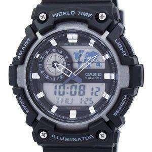 카시오 청소년 세계 시간 알람 아날로그 디지털 AEQ-200W-1AV AEQ200W-1AV 남자 시계