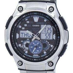 카시오 크로 노 그래프 세계 시간 아날로그 디지털 AQ-190WD-1AV AQ190WD-1AV 남자 시계