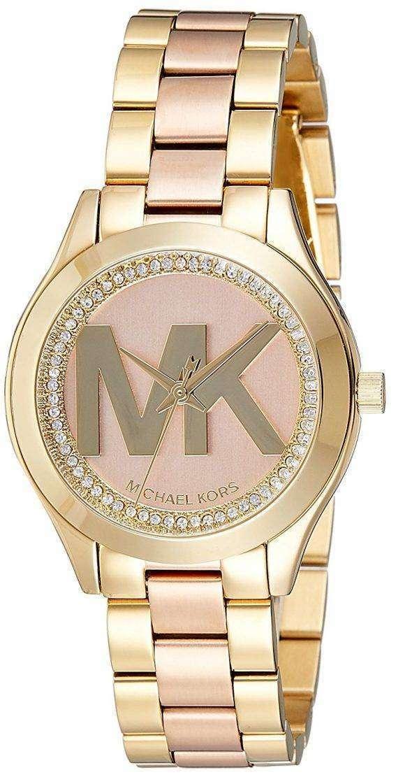 마이클 Kors 미니 슬림 활주로 석 영 다이아몬드 악센트 MK3650 여자의 시계