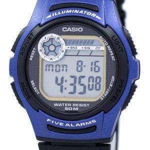 카시오 청소년 디지털 5 경보 조명 기 W-213-2AVDF W-213-2AV 남자의 시계