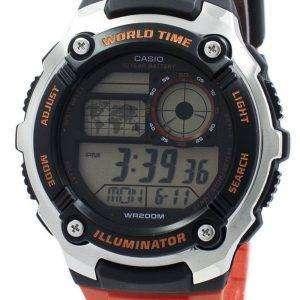 카시오 청소년 조명 세계 시간 디지털 AE 2100W 4AV AE2100W-4AV 남자 시계