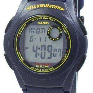 카시오 조명 기 듀얼 타임 크로 노 디지털 F-200W-2B F200W-2B 남자 시계