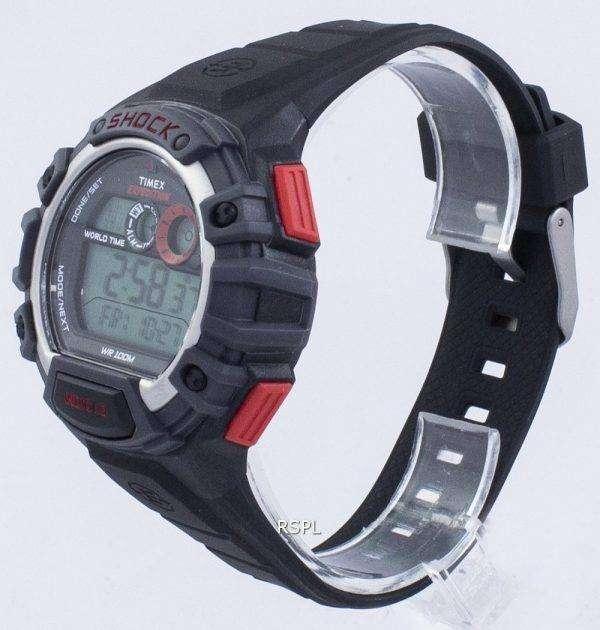 타이 멕 스 원정대 글로벌 충격 세계 시간 알람 Indiglo 디지털 T49973 남자의 시계