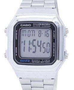 카시오 디지털 스테인리스 알람 크로 노 듀얼 시간 A178WA-1ADF A178WA-1A 남자의 시계