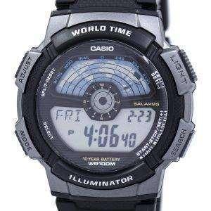 카시오 청소년 디지털 조명 세계 시간 AE-1100W-1AV 남자 시계