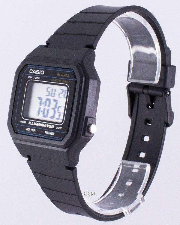 Casio 클래식 조명 기 크로 노 그래프 알람 W-217 H-1AV W217H-1AV 남자 시계