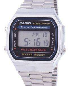 카시오 디지털 알람 크로 노 스테인리스 A168WA-1WDF A168WA-1W 남녀 시계