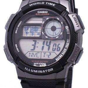 카시오 청소년 시리즈 디지털 세계 시간 AE-1000W-1BVDF AE-1000W-1BV 남자의 시계