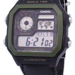 카시오 청소년 시리즈 디지털 세계 시간 AE-1200WHB-1BVDF AE-1200WHB-1BV 남자의 시계