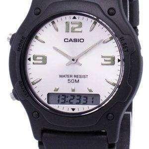 카시오 아날로그 디지털 석 영 듀얼 타임 AW-49HE-7AVDF AW-49HE-7AV 남자 시계