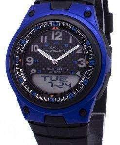 카시오 아날로그 디지털 조명 Telememo 블랙/블루 AW-80-2BVDF AW-80-2BV 남자 시계