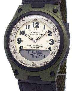 카시오 아날로그 디지털 Telememo 조명 AW-80V-3BVDF AW-80V-3BV 남자 시계