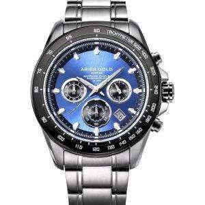 양자리 골드 영감 방 랑 자 크로 노 그래프 쿼 츠 G 7001 SBK 부 남자 시계