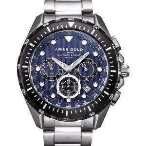 양자리 골드 영감 대서양 크로 노 그래프 쿼 츠 G 7002 SBK 부 남자 시계