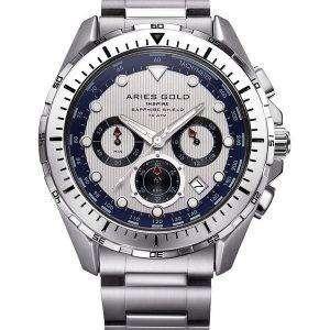 양자리 골드 영감 대서양 크로 노 그래프 쿼 츠 G 7002 S S 남자 시계