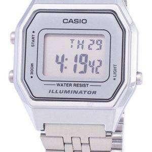 카시오 디지털 석 영 스테인리스 조명 기 LA680WA-7DF LA680WA-7 여자의 시계