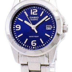 카시오 아날로그 쿼 츠 블루 다이얼 LTP-1215A-2ADF LTP-1215A-2A 여자 시계