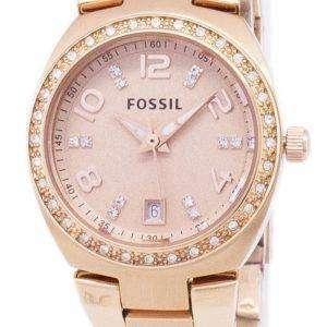 화석 세레나 크리스탈 로즈 골드 톤 스테인레스 스틸 AM4508 여자의 시계