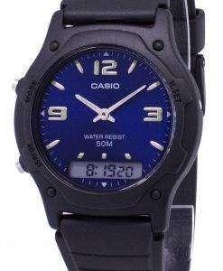 카시오 아날로그 디지털 석 영 듀얼 타임 AW-49HE-2AVDF AW-49HE-2AV 남자 시계