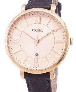 화석 재클린 석 영 회색 가죽 ES3707 여자의 시계